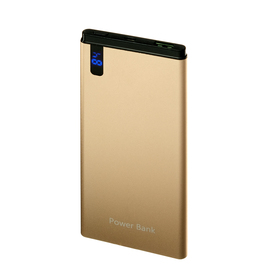 Внешний аккумулятор LuazON, 8000 мАч, 2.1 А, дисплей, тонкий корпус, металл, цвет золото