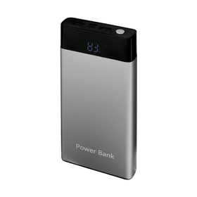 Внешний аккумулятор LuazON, 10000 мАч, 2 USB, 1/2 А, дисплей, фонарик, серый
