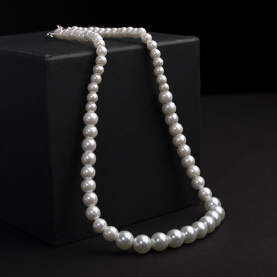 Beads pearls Bride beads of different sizes d=0.5 and 1.5, color white