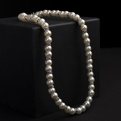 Beads pearls Bride beads d=1 mm, color milk