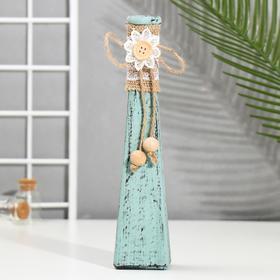 "Bottle for essential oil/decor glass ""Daisy"" turquoise matte 200 ml 22,5x4,5x4,5 cm"