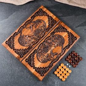"""Нарды ручной работы """"Охота на тетерева"""", 55х25х6,5см, массив ореха"""