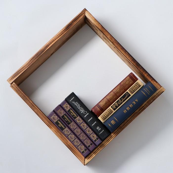 """Полка деревянная """"Лион"""", набор 2 штуки, обожженная, 40 х 12 х 8,5 см, 1 сорт"""