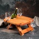 """Винный столик """"4 бокала"""" массив ели, светлый 24х35 см, 1 сорт, микс"""