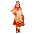 Карнавальный костюм «Индеец девочка», платье, головной убор, р. 32, рост 122-128 см