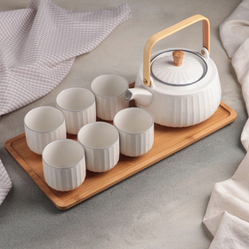 "Set tea wood tray 7 before the ""breeze"" kettle 1 l 18х15,5x10 cm, 6 cups of 150 ml"