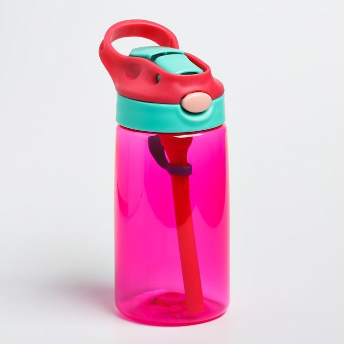 Поильник с трубочкой, мягкий носик, цвет розовый - фото 783452207
