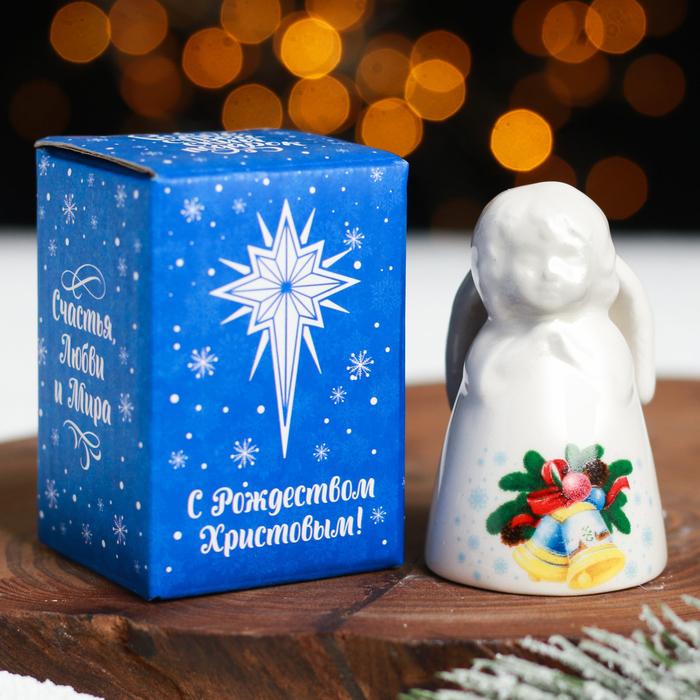 Колокольчик в форме ангела «Светлого Рождества!»