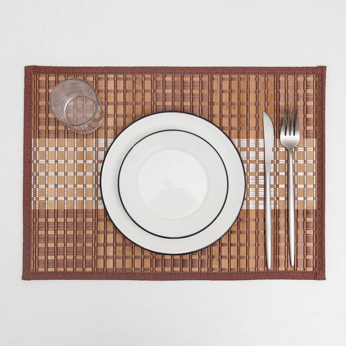 Салфетка кухонная «Шахматы», 40×30 см, цвет коричневый - фото 695136