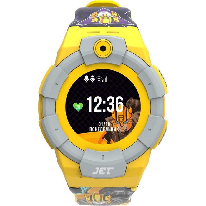 """Смарт-часы Jet Kid Bumblebee, 45мм, 1.44"""", желтый"""