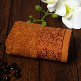 Полотенце махровое Бодринг 30х60 см, коричневый, хлопок 100%, 430гр/м2