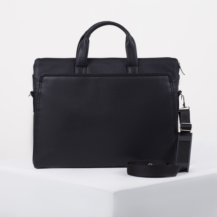 Сумка мужская, отдел на молнии, 2 наружных кармана, длинный ремень, цвет чёрный - фото 732642
