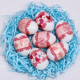 """The transfers are on 7 eggs """"Lace"""", 7.3 x 34,2 cm"""