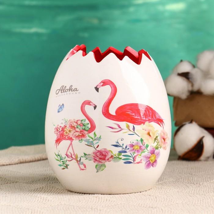 """Кашпо керамическое """"Фламинго"""" 12*12*13 см - фото 834602"""