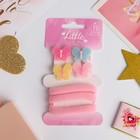 """Набор для волос """"Лоренса"""" (2 зажима 3,5 см, 3 резинки) бабочки двойняшки, розовый"""