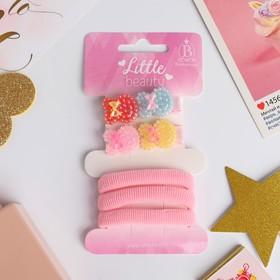 Набор для волос 'Лоренса' (2 зажима 3,5 см, 3 резинки) зайки, розовый Ош