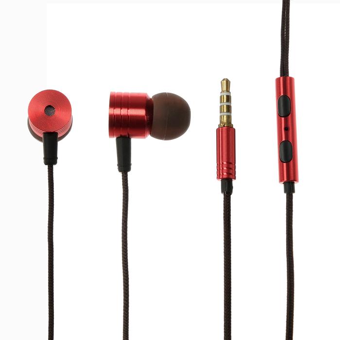Наушники LuazON, вакуумные, микрофон, чёрнокрасный - фото 730441658