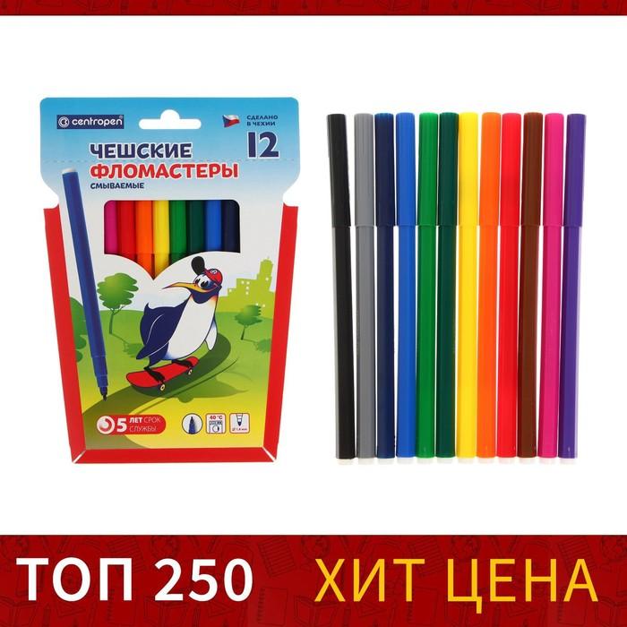 """Фломастеры 12 цветов """"Пингвины"""" смываемые"""