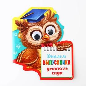 """Диплом """"Выпускника детского сада"""", сова с глазками, 14,5 х 17 см"""