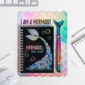 """Ежедневник голография и ручка """"I AM A MERMAID"""", 40 листов"""