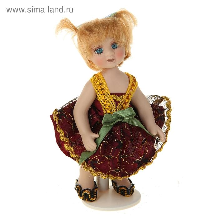 """Кукла коллекционная """"Малышка Кристина в бордовом платье"""""""