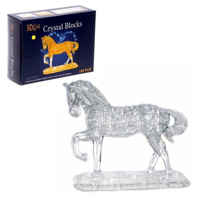 """Пазл 3D кристаллический, """"Лошадь"""" на подставке, 100 деталей, цвета МИКС"""