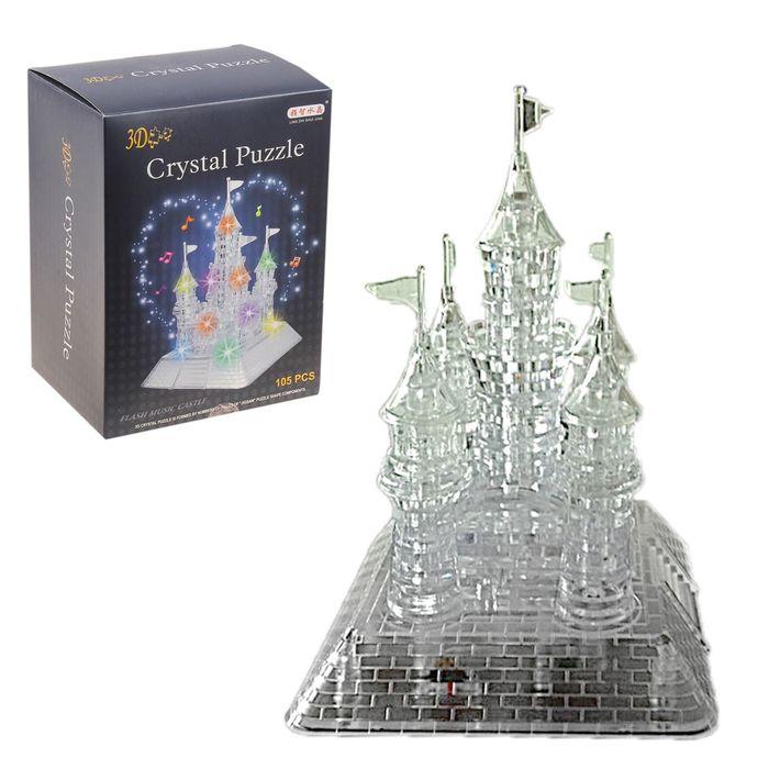 """Пазл 3D кристаллический, """"Сказочный замок"""", 105 деталей, световые и звуковые эффекты, работает от батареек"""