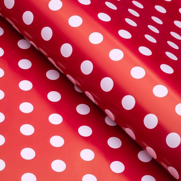 Бумага глянцевая, горох крупный, 49 х 70 см. Красная - фото 308261802