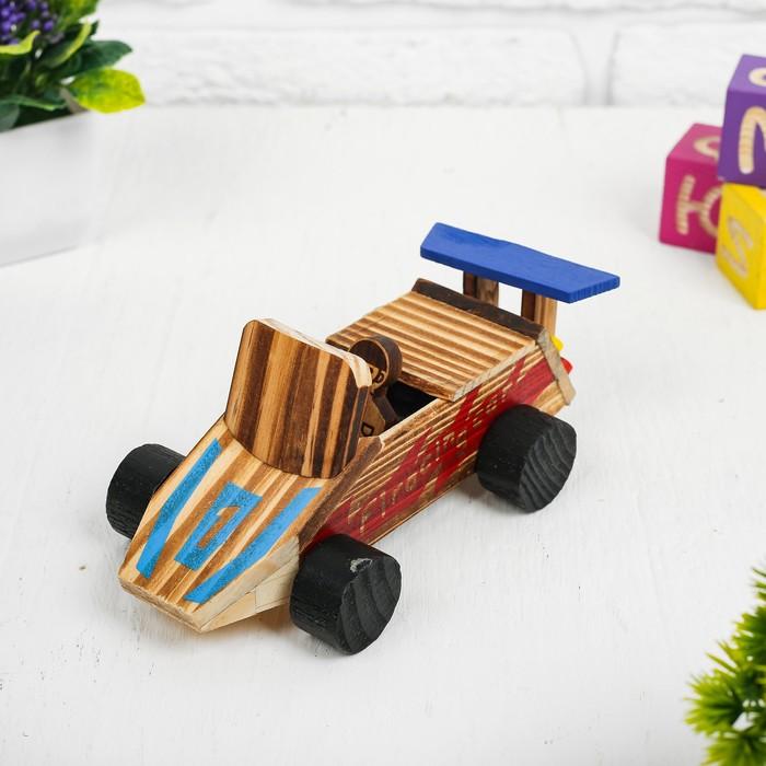 Игушка из дерева «Гоночный автомобиль» с моторчиком 9.4×18×7.5 см - фото 105650227