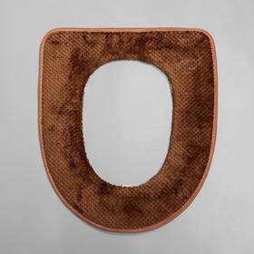 Чехол на сиденье для унитаза на липучках «Плюш», 34×40 см, цвет МИКС