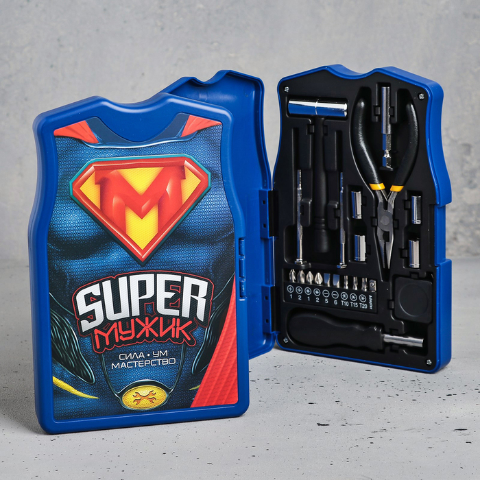 """Набор инструментов в майке """"Super Мужик"""", подарочная упаковка, 14х22см"""