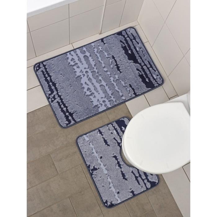 Set of floor mats for baths 2 PCs Blik 50 × 80, 50x40 cm, color blue