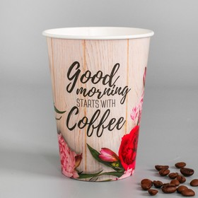 """Glass paper for coffee """"Good morning"""", 400 ml"""