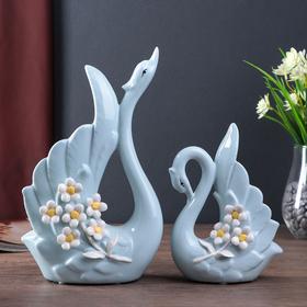 "Сувенир керамика ""Лебеди с незабудками"" голубой набор 2 шт 26х15х7 см"