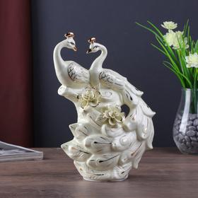 """Сувенир керамика """"Павлины на дереве с цветами"""" кремовый 26х16х9 см"""