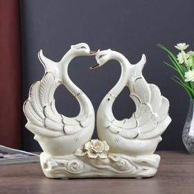 """Сувенир керамика """"Лебеди с розой"""" белый, страза 27х30х7,5 см"""