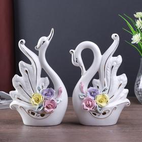 """Сувенир керамика """"Лебеди с цветными розами"""" белый набор 2 шт 23х13х6 см"""