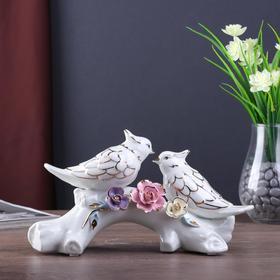 """Сувенир керамика """"Сойки с цветными розами"""" белый 15х21х7,5 см"""