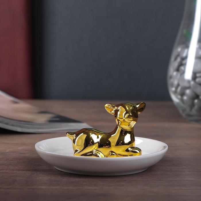 "Сувенир керамика подставка под кольца ""Оленёнок"" золото 6х11х11 см"