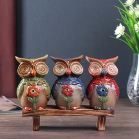 """Сувенир керамика """"Совушки с ромашками"""" набор 3 шт 10,5х7х6 см"""
