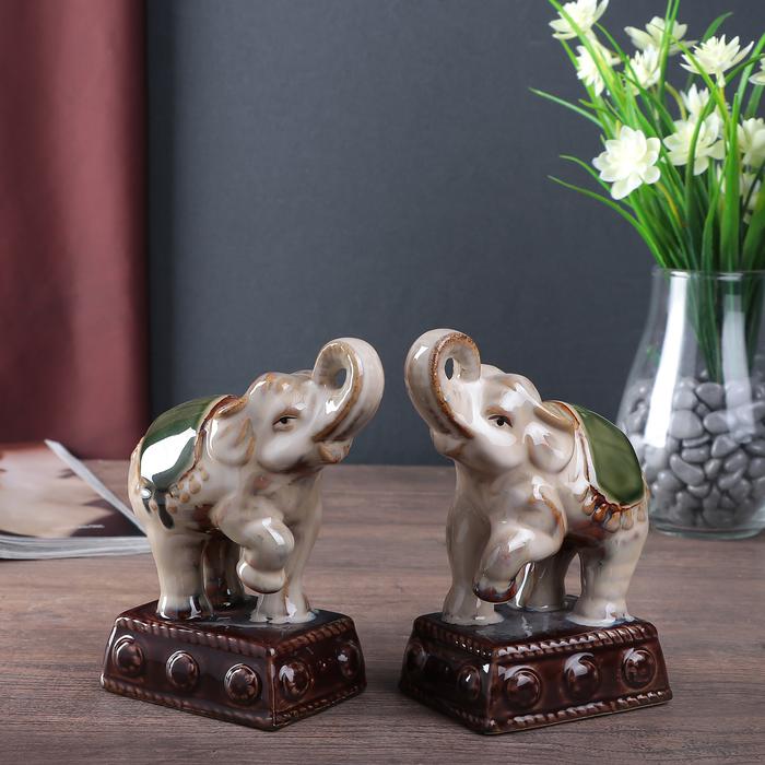 """Сувенир керамика """"Цирковые слоны на пьедестале"""" набор 2 шт 14,5х10х6,5 см"""