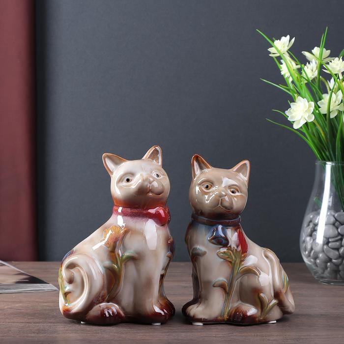 """Сувенир керамика копилка """"Кошечки с тюльпанами"""" набор 2 шт 16,5х11х8,5 см"""