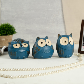 "Сувенир керамика копилка ""Совушки"" синий матовый набор 3 шт 10х8х10 см"