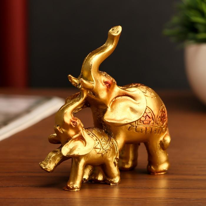 """Сувенир полистоун """"Слон со слонёнком мозаика на попоне""""МИКС 12х12х4 см"""