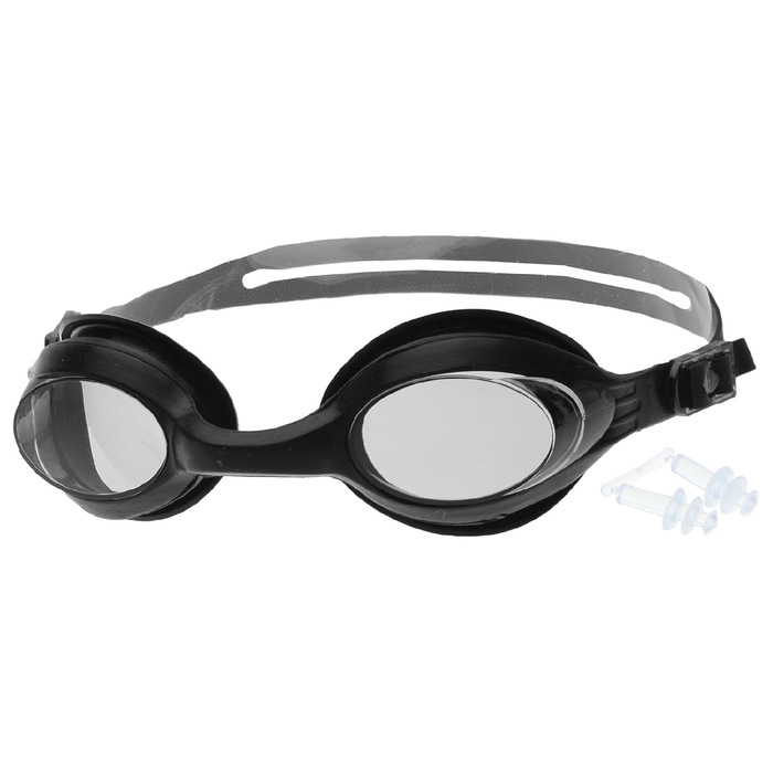 Очки для плавания взрослые с берушами, цвета МИКС