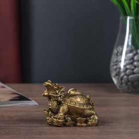 """Нэцке полистоун бронза """"Драконочерепаха на монетах со слитком на панцире"""" 6,5х9х6 см"""
