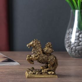 """Нэцке полистоун бронза """"Конь с чашей золотых слитков на спине"""" 9х7х4,5 см"""