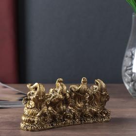 """Нэцке полистоун бронза """"Четыре слона - не вижу, не слышу, не скажу"""" 6,5х13,5х4 см"""