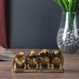 """Нэцке полистоун бронза """"Четыре черепахи - не вижу, не слышу, не скажу"""" 6,5х13,5х4 см"""