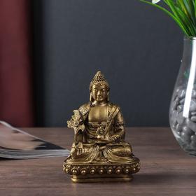 """Нэцке полистоун бронза """"Будда на лотосе"""" 12х8х6,5 см 496068"""